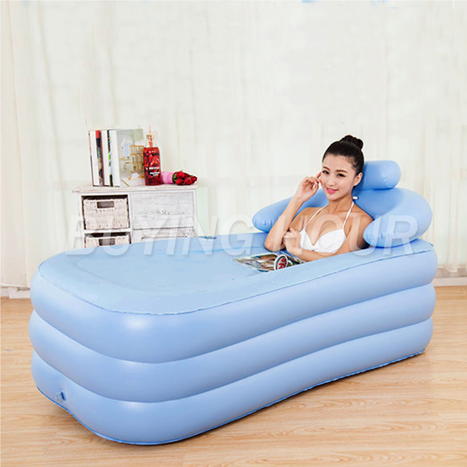 Inflatable Portable Adult PVC Folding Bath Tub Air Fast