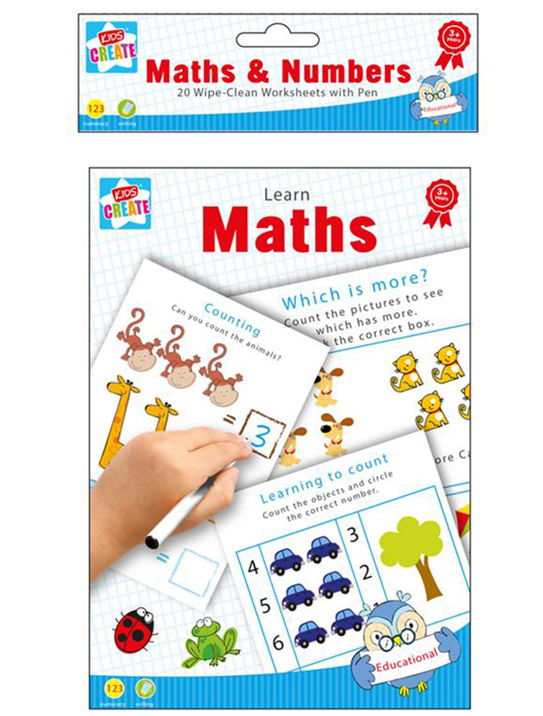 20 Wipe Clean Educational Learning Worksheets With Pen