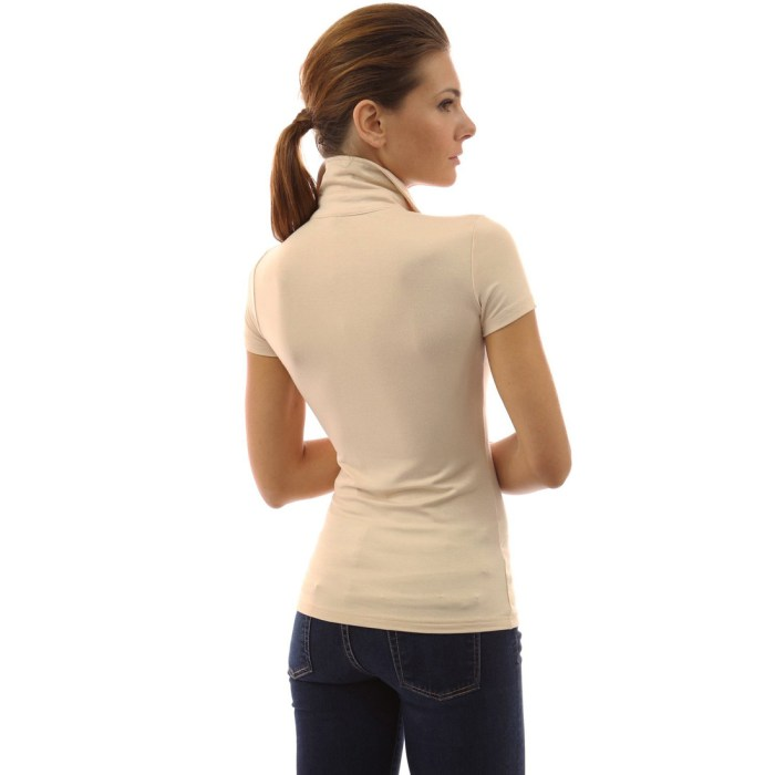 Womens V Neck Long Sleeve Polo Shirt Slim Fit Casual
