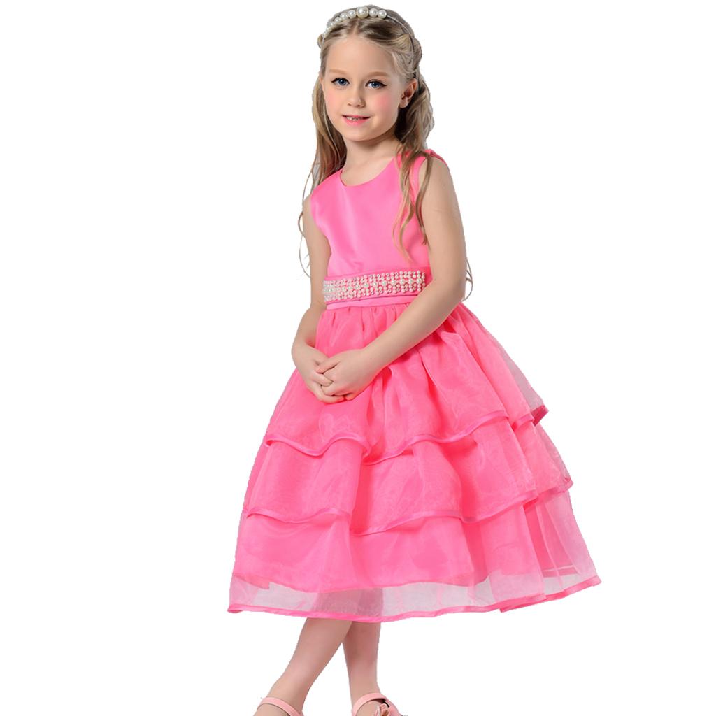 Kids Girls Special Occasion Organza Dress Pearl Waist Prom