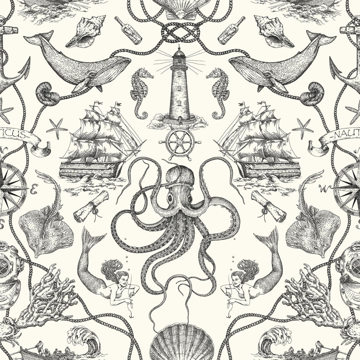 York Wallcoverings Ho Deep Sea Toile Wallpaper