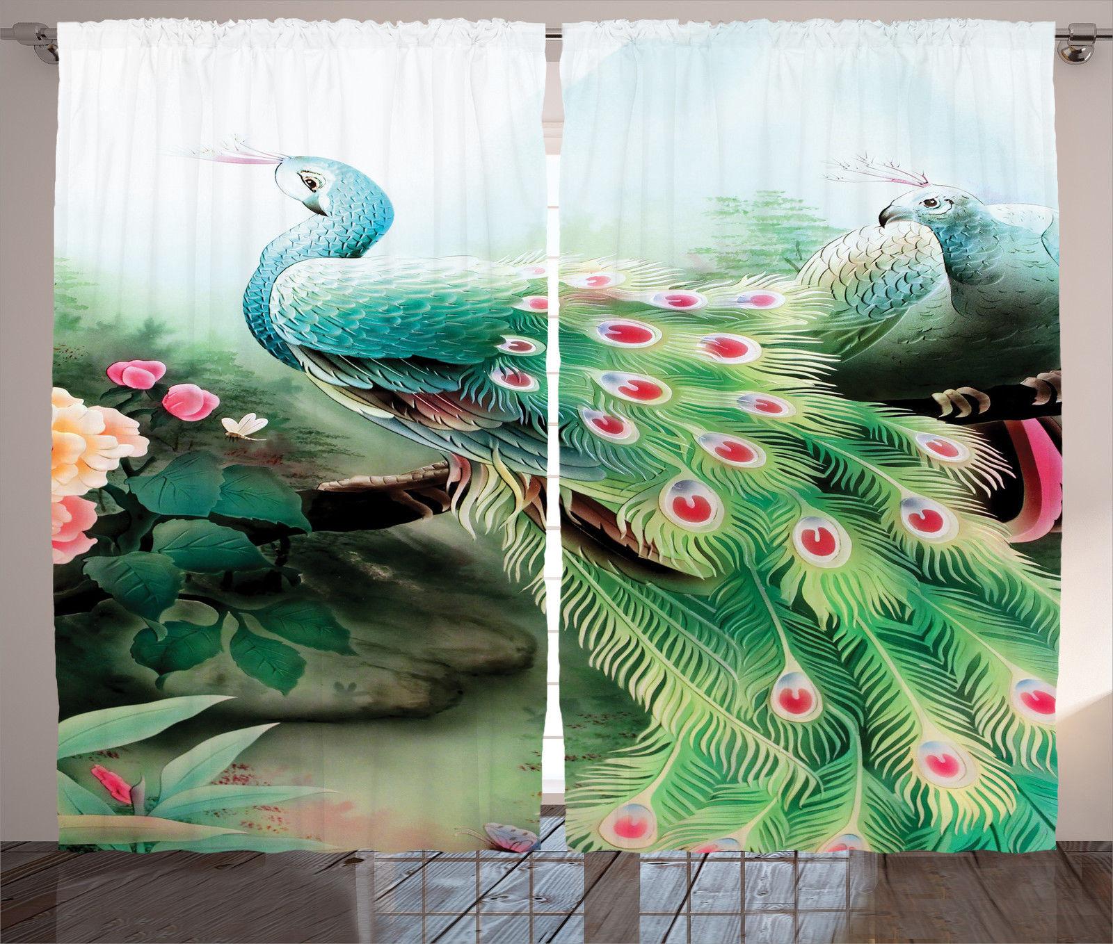 Peacock In A Summer Flower Garden Glass Paint Effect Print