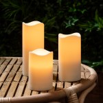 Set Of 3 Outdoor Battery Operated Led Flameless Candles With 6 Hour Timer Ebay
