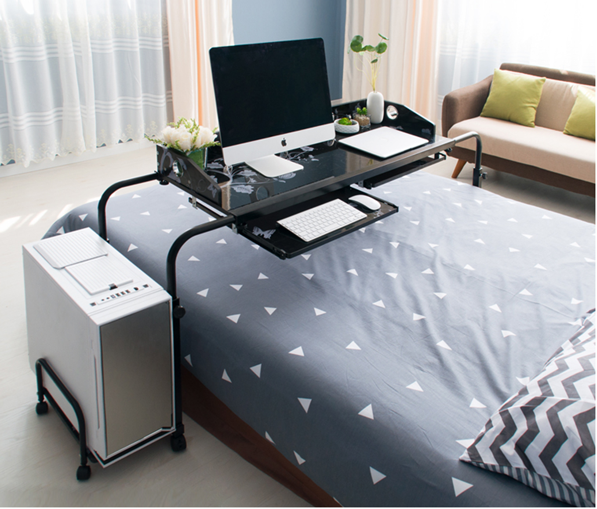 Home Rolling Adjustable Computer Desk Table Over Bed