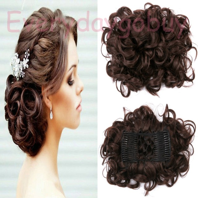 Synthetic Curly Hair  Extensions Hairpiece  Bun Updo