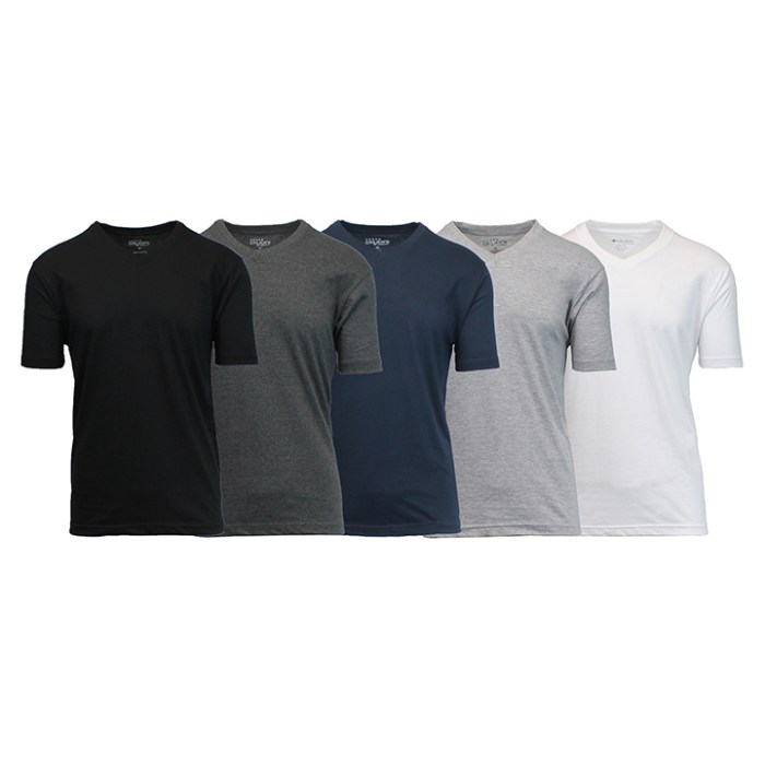 5-Pack Short Sleeve V-Neck Tees  Fitted Design - For a Generous Loose Fit, Buy 1 Size Up