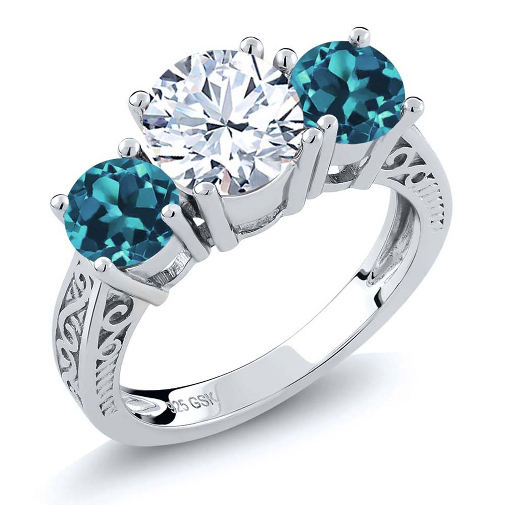 240 Ct Round White And London Blue Topaz 925 Sterling
