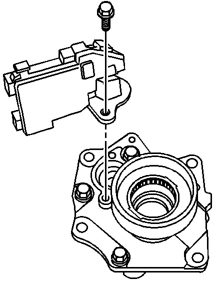 Exploded view of axle actuator and the axle disconnect