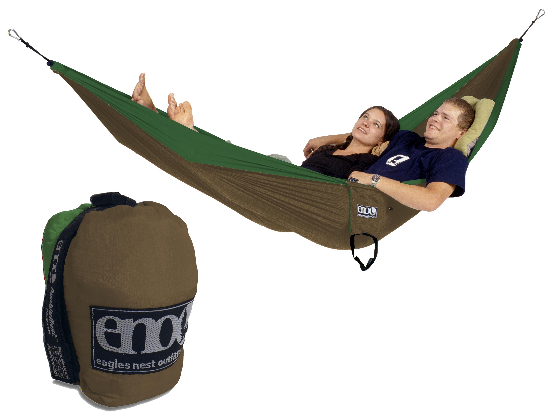 Eno Double Nest Hammock Emerald Khaki Two Person New