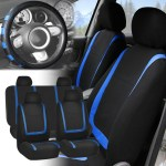 Car Seat Covers Blue Black Full Set For Auto W Blue Leather Steering Wheel Ebay