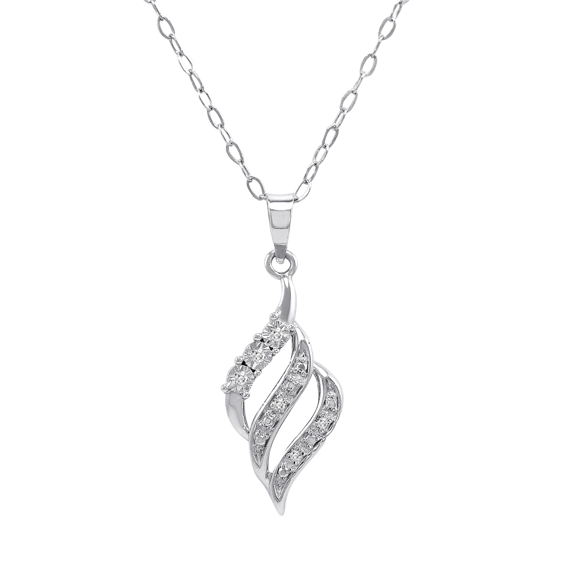 Diamond Swirl Pendant Necklace In 925 Sterling Silver