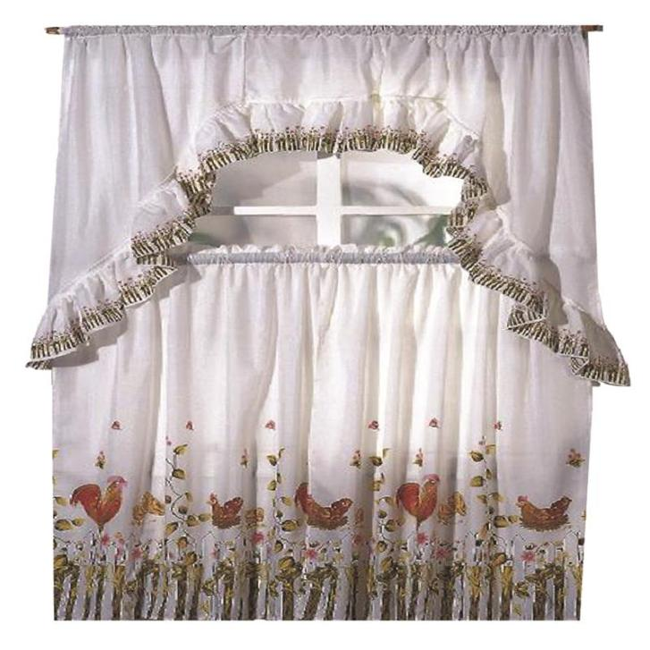 Details Rooster Printed Kitchen Curtain Swag Set