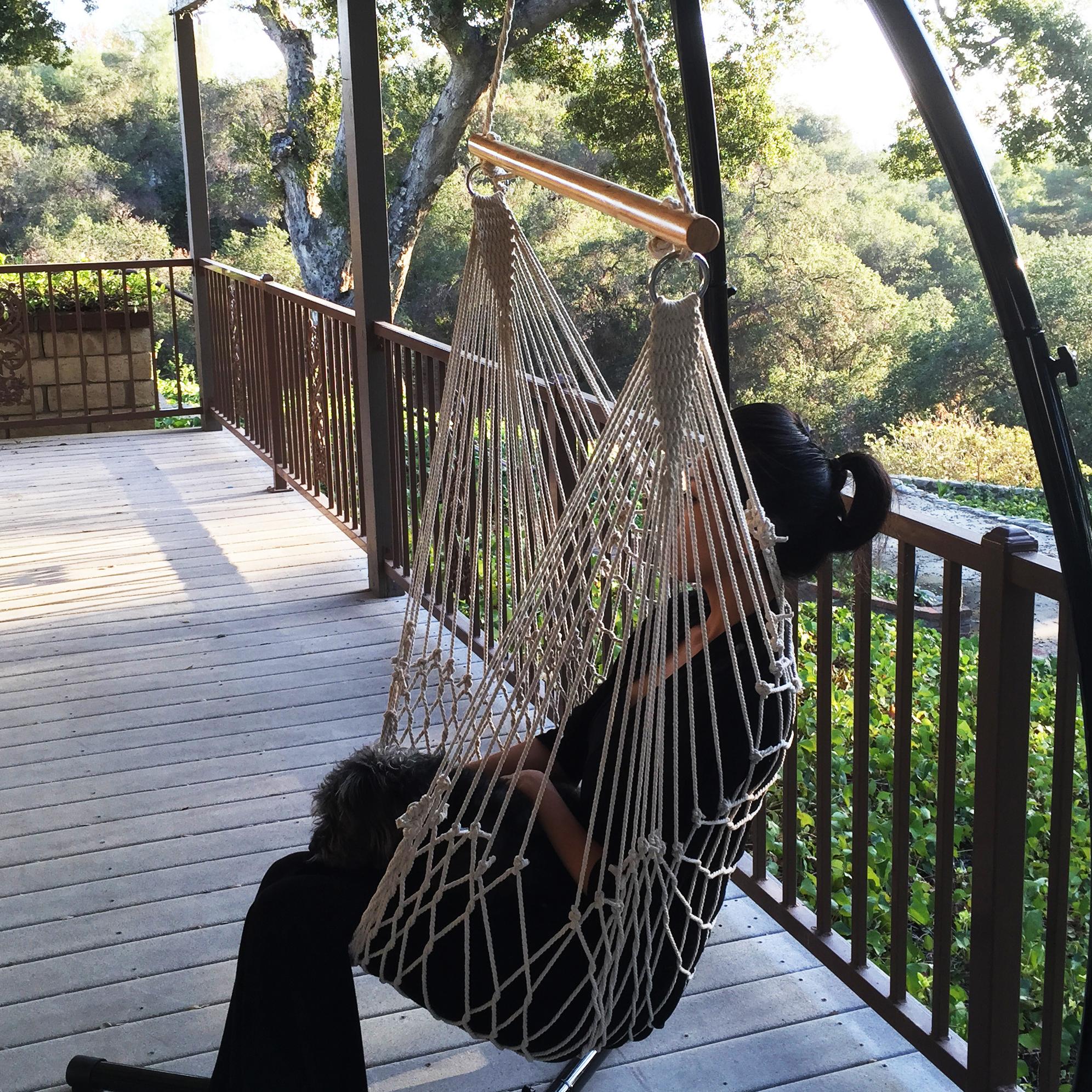 2 Swing Rope Hammock Porch Cotton Patio Garden Hanging Air