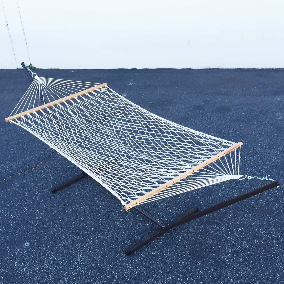 Double Rope Hammock With Heavy Duty Steel Stand Outdoor