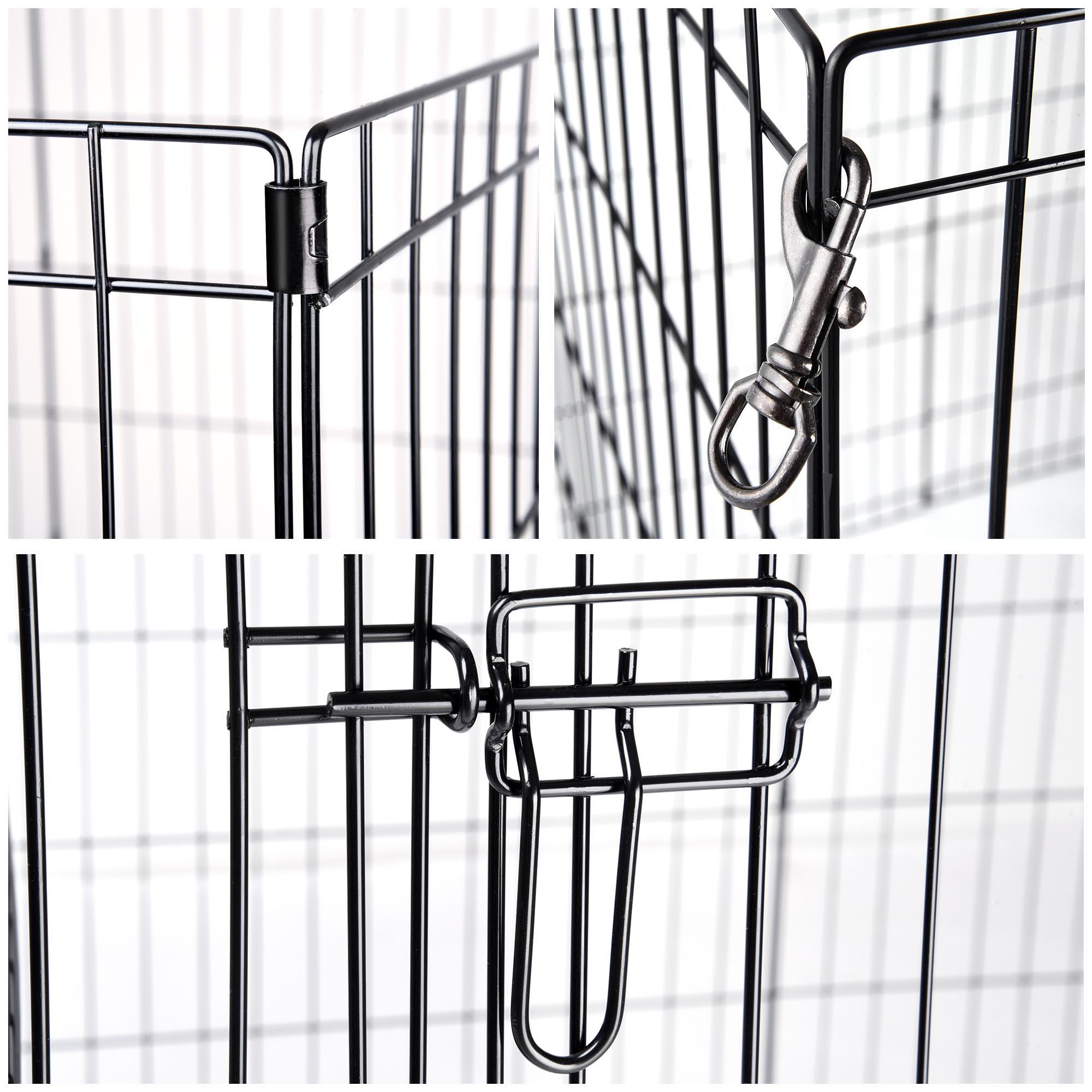 30 Pet Dog Playpen Exercise Fence Cage Kennel W Door 8 Panel Outdoor Indoor