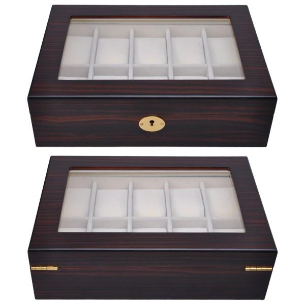 10 Slot Ebony/Cherry Wood Watch Display Case Glass Top ...