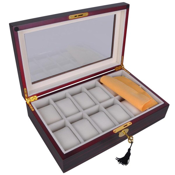 12 Slot Watch Display Case Wood Wooden Boxes Jewelry ...