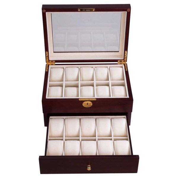 20 Watch Display Case Cherry/Ebony Wood Box Glass Top ...