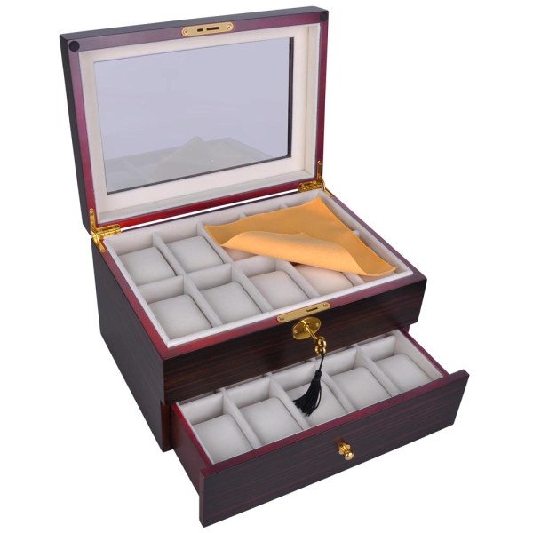 6/10/12/20/24 Wood Watch Display Case Glass Top Jewelry ...