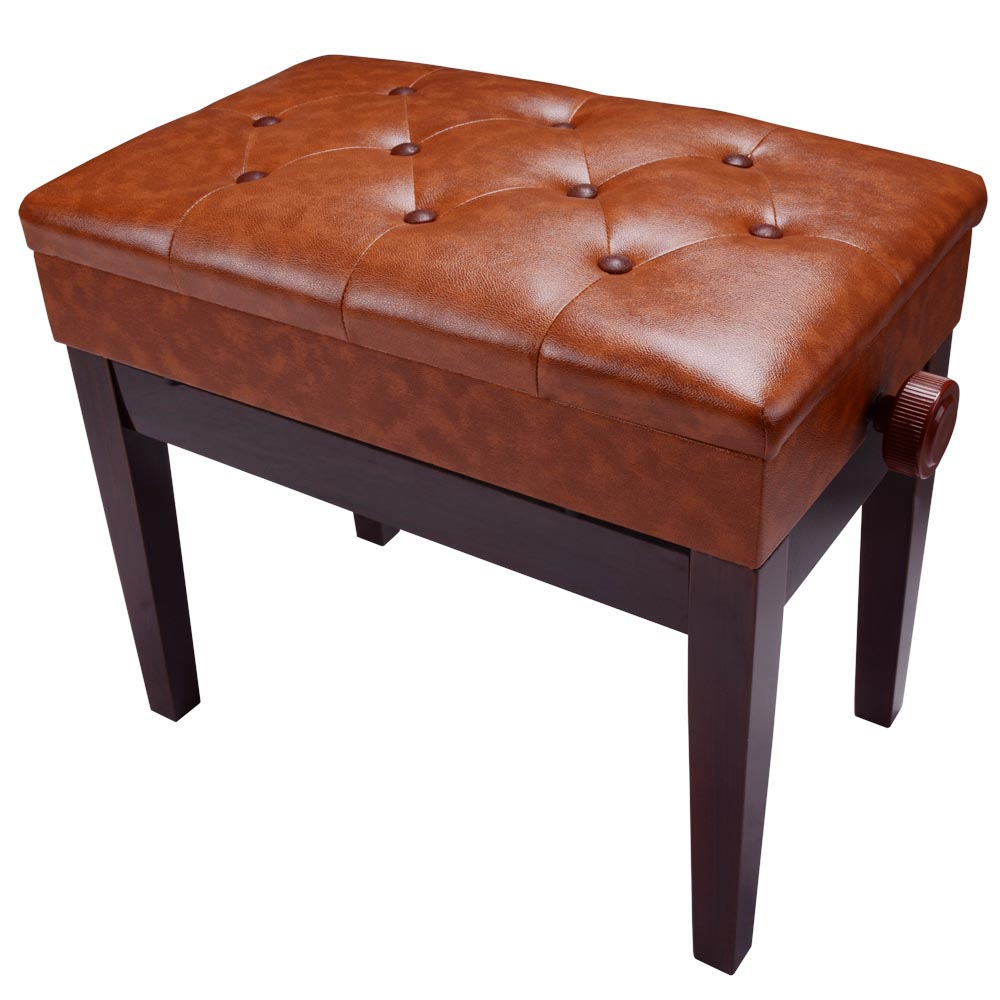 Piano Bench Pu Leather Storage Adjustable Height Padded