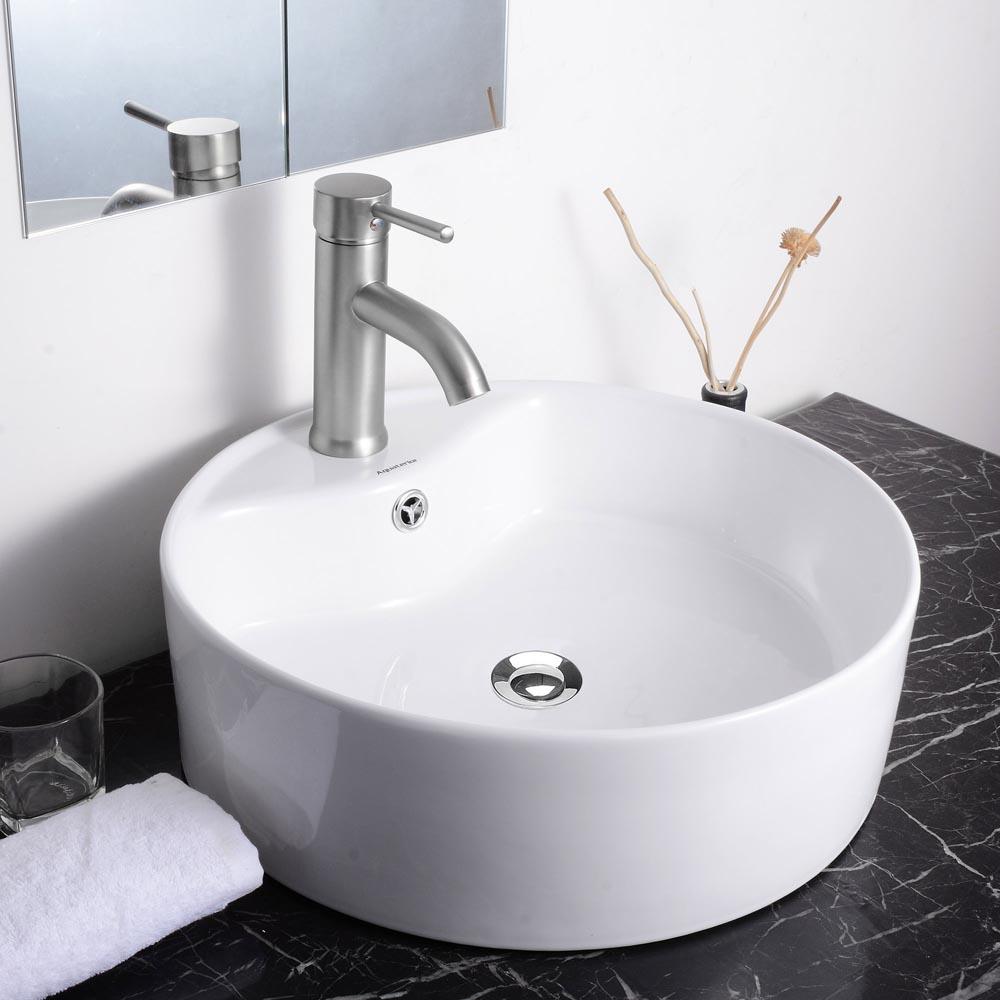 aquaterior bathroom porcelain ceramic vessel sink vanity basin overflow drain plumbing fixtures home improvement