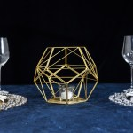 Gold 7 Tall Geometric Candle Holder Metal Vase Party Home Wedding Centerpieces Ebay