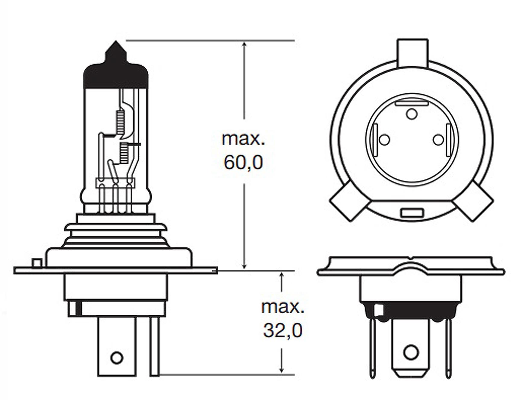 H4 Hb2 60 55w Xenon Oem Headlight High Low Dual Beam