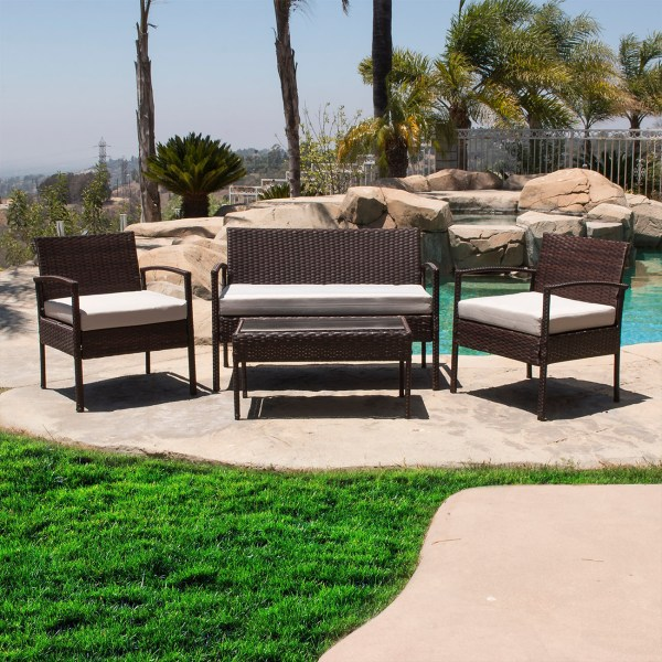 outdoor wicker rattan patio furniture 4PCS Outdoor Rattan Wicker Patio Set Garden Lawn Sofa