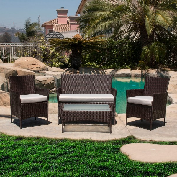 outdoor wicker rattan patio furniture 4 PC Rattan Furniture Set Outdoor Patio Garden Sectional