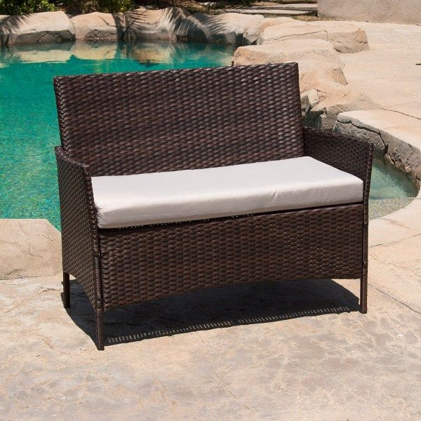 wicker patio furniture cushions 4 PC Rattan Furniture Set Outdoor Patio Garden Sectional