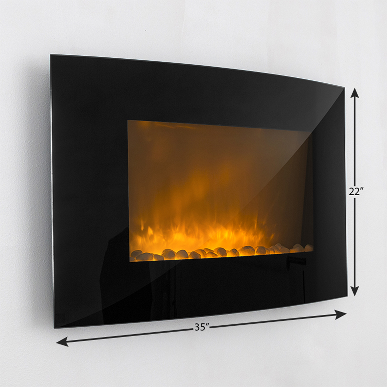 Large W Heat Adjustable Electric Wall Mount Fireplace