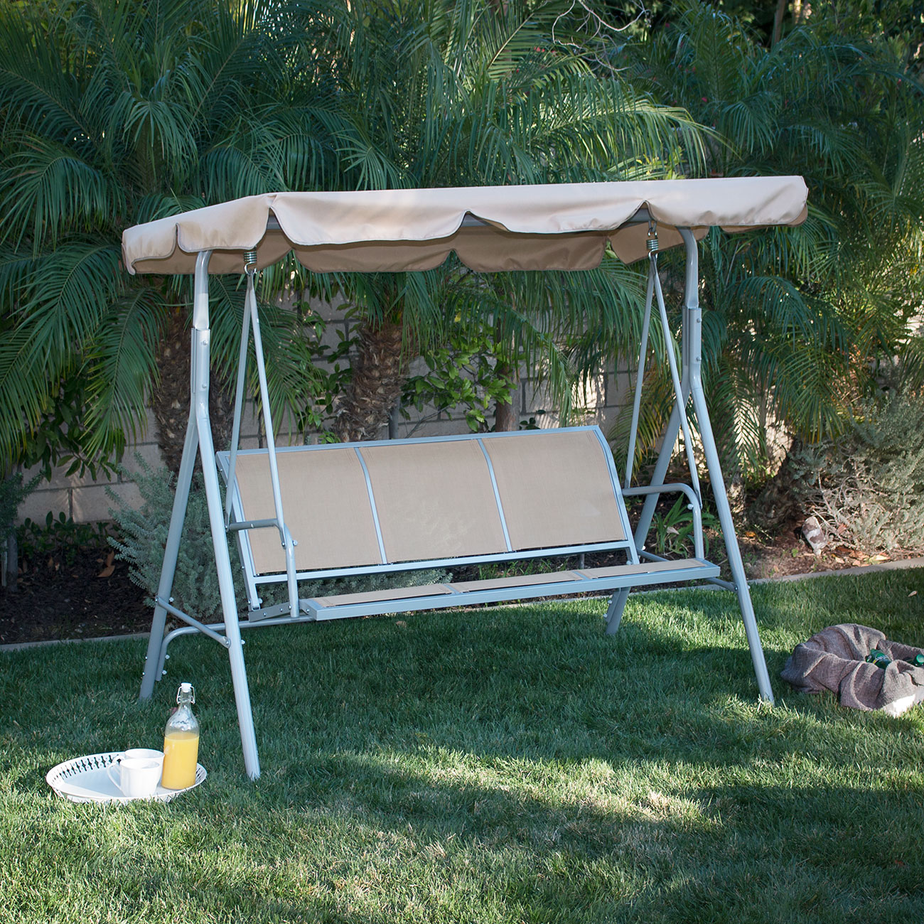 3 Person Patio Swing Adjustable Canopy Awning Outdoor