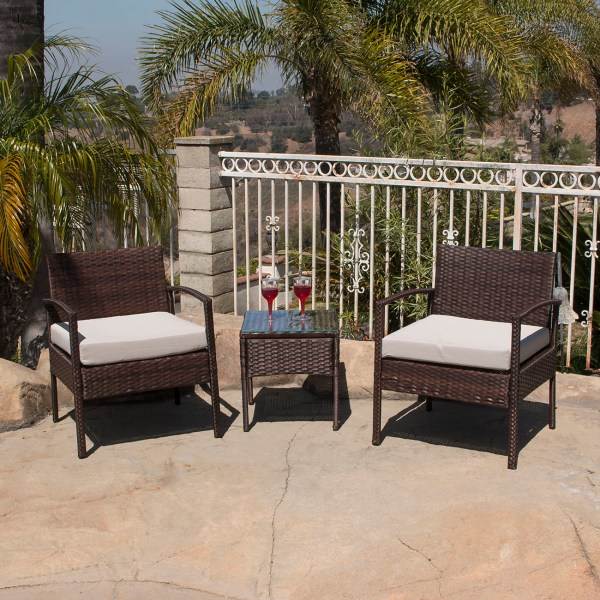 outdoor patio furniture sets 3pc Rattan Wicker Bistro Sofa Set Coffee Table Chair