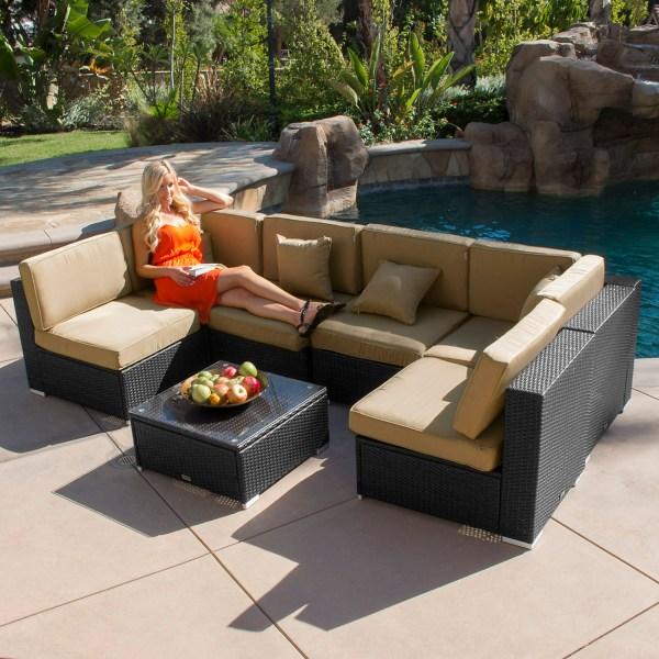 outdoor wicker patio furniture 7pc Outdoor Patio Rattan Wicker Furniture Aluminum