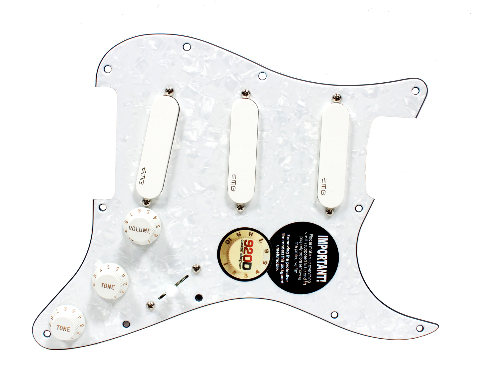 920d Custom Loaded Strat Pickguard W Emg Sa Spc Exg White