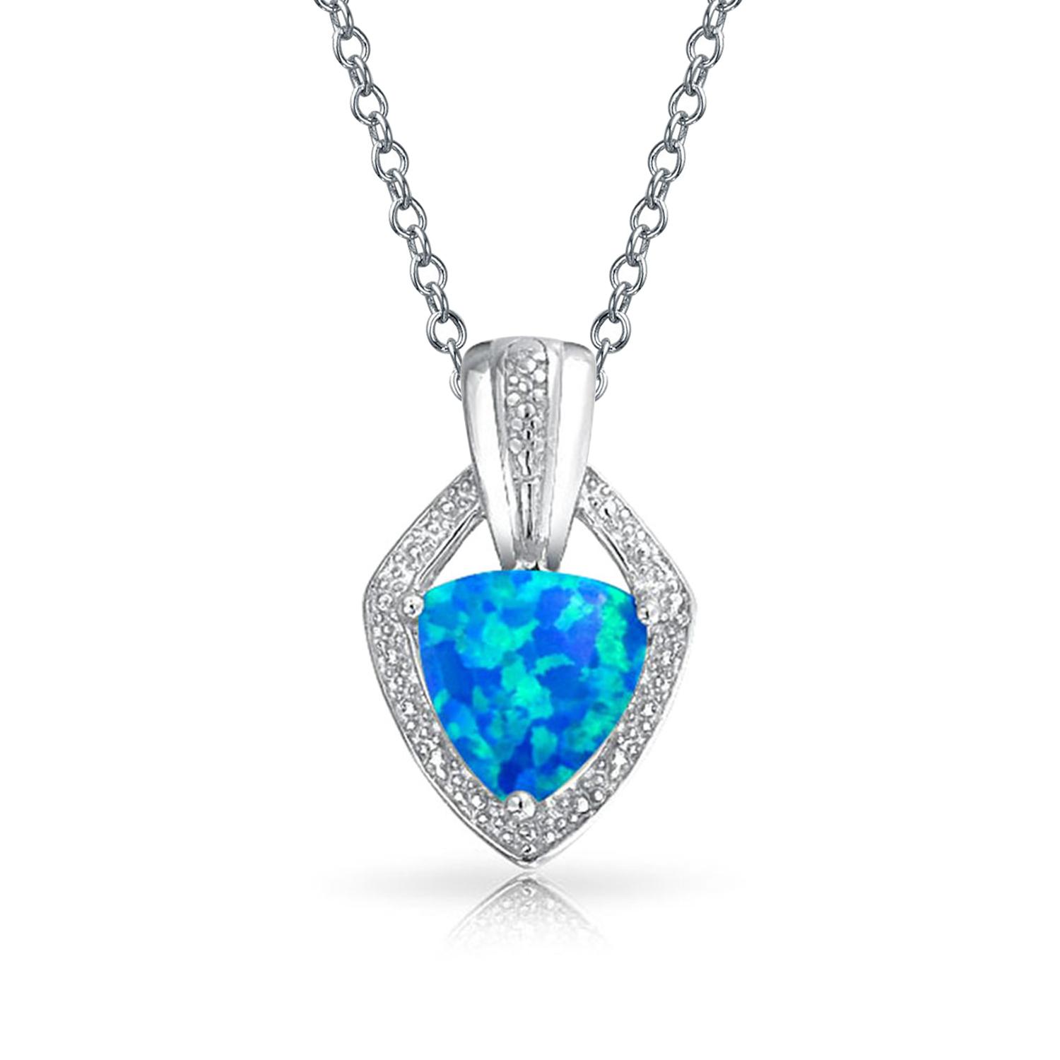 Solitaire Trillion Cut Blue Created Opal Pendant 925