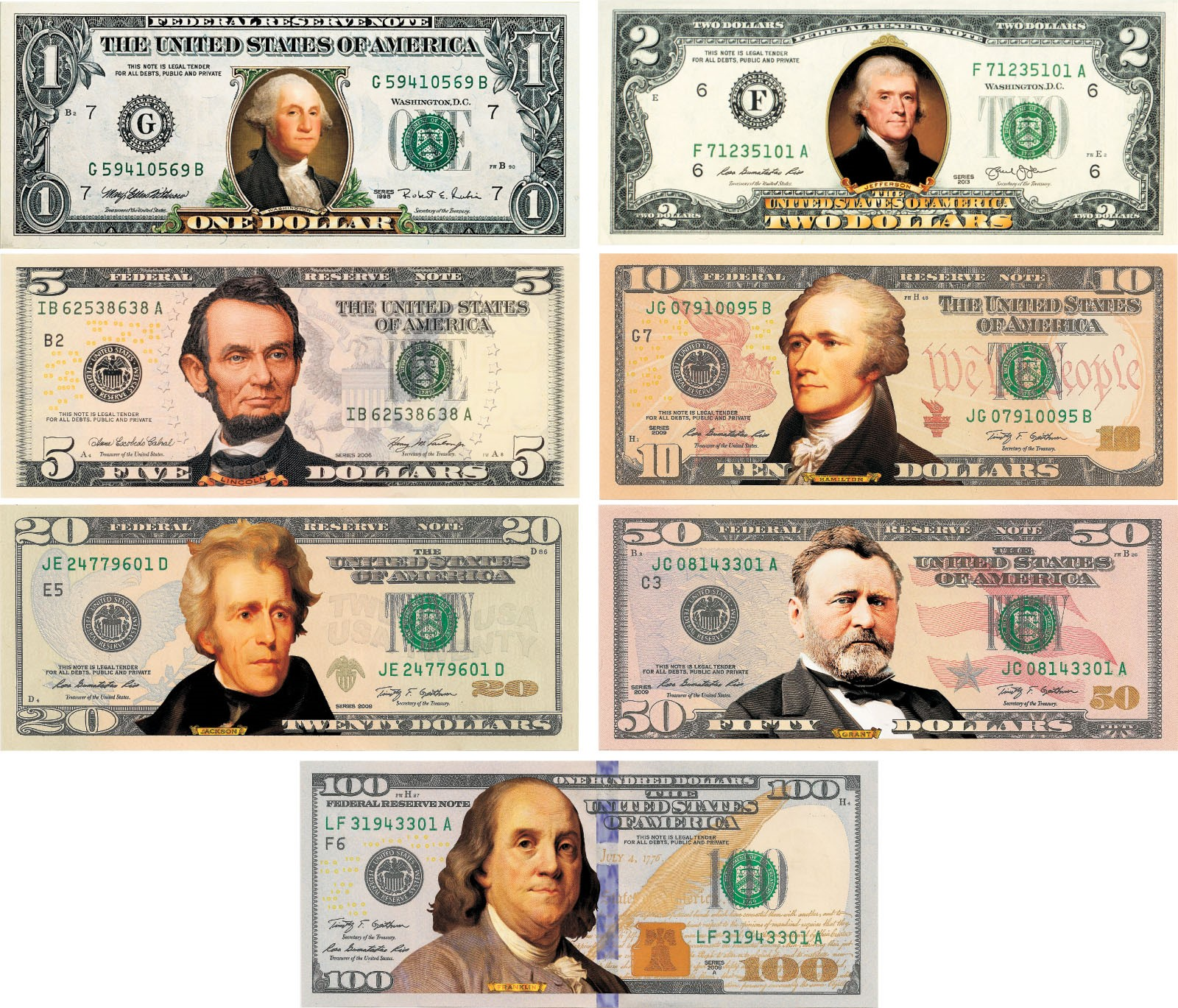 Set Of All 7 Colorized 2 Sided U S Bills Currency 1