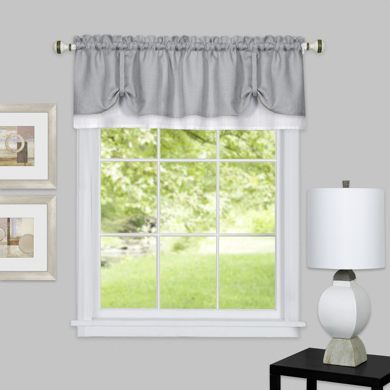 solid window curtain double layer tier pair valance set home furniture diy curtains drapes redhot cl