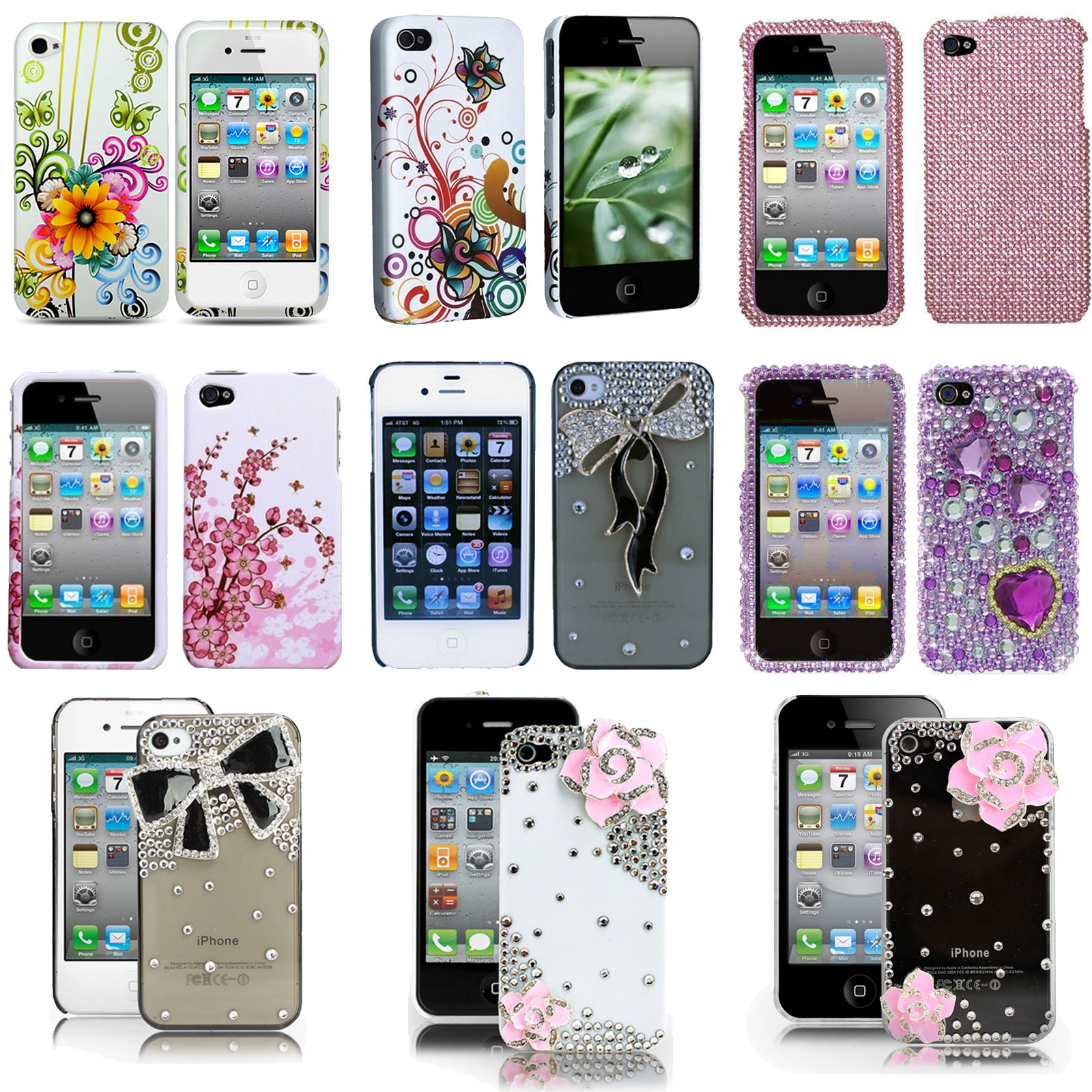 For Apple Iphone 4 4s 4g Hard Shell Case Cover Bling