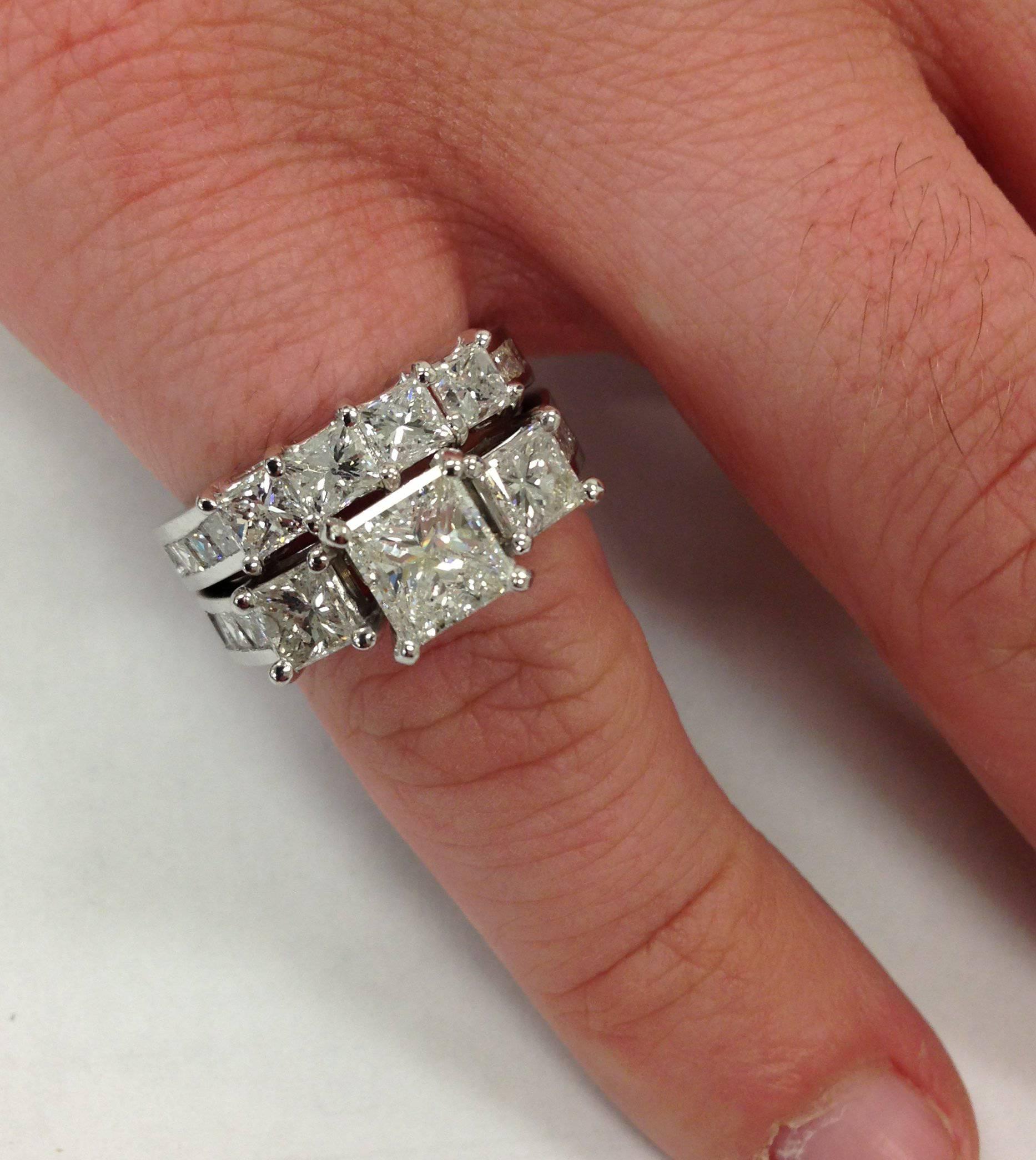 REAL 350CT Princess Cut HUGE Diamond Engagement Ring