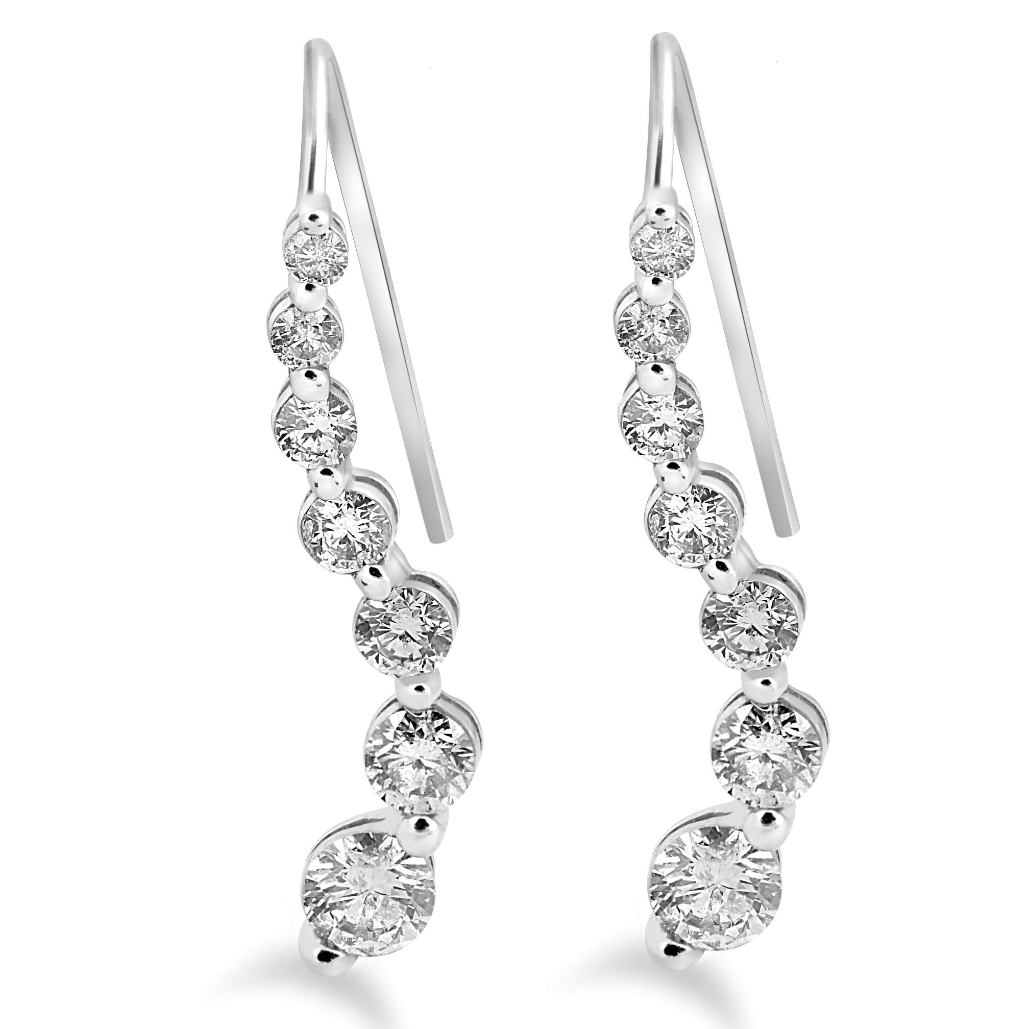 1ct Diamond Journey Earrings 14k White Gold Womens French