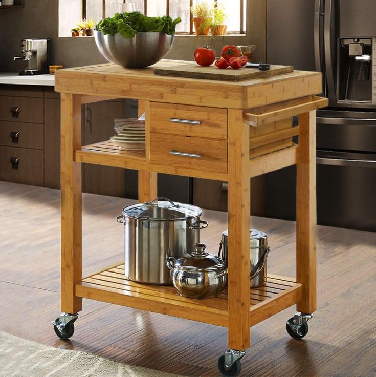 rolling bamboo wood kitchen island cart trolley, w/ towel rack