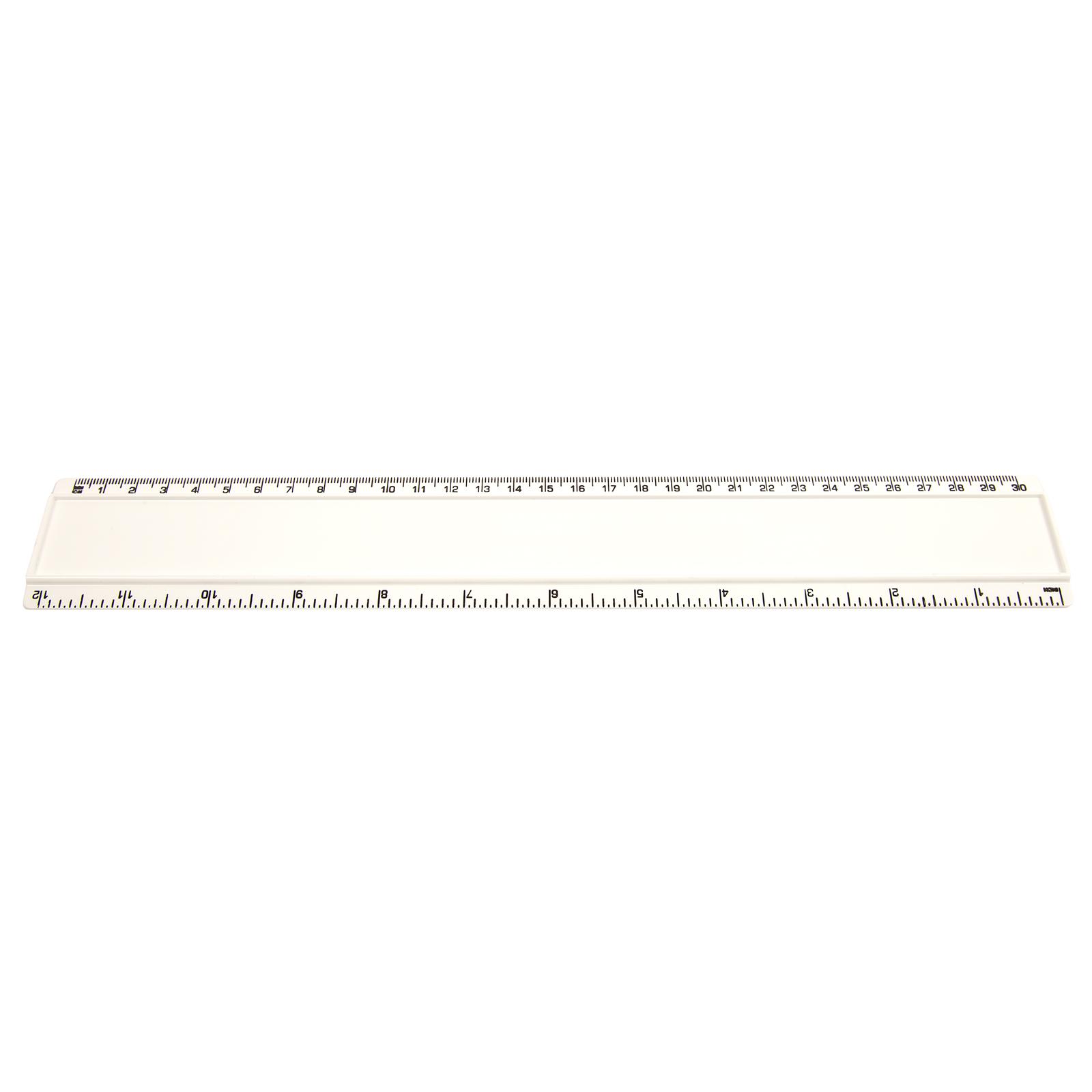 Blank 12in Plastic Ruler Scale Measure Flexible School Office Stationery