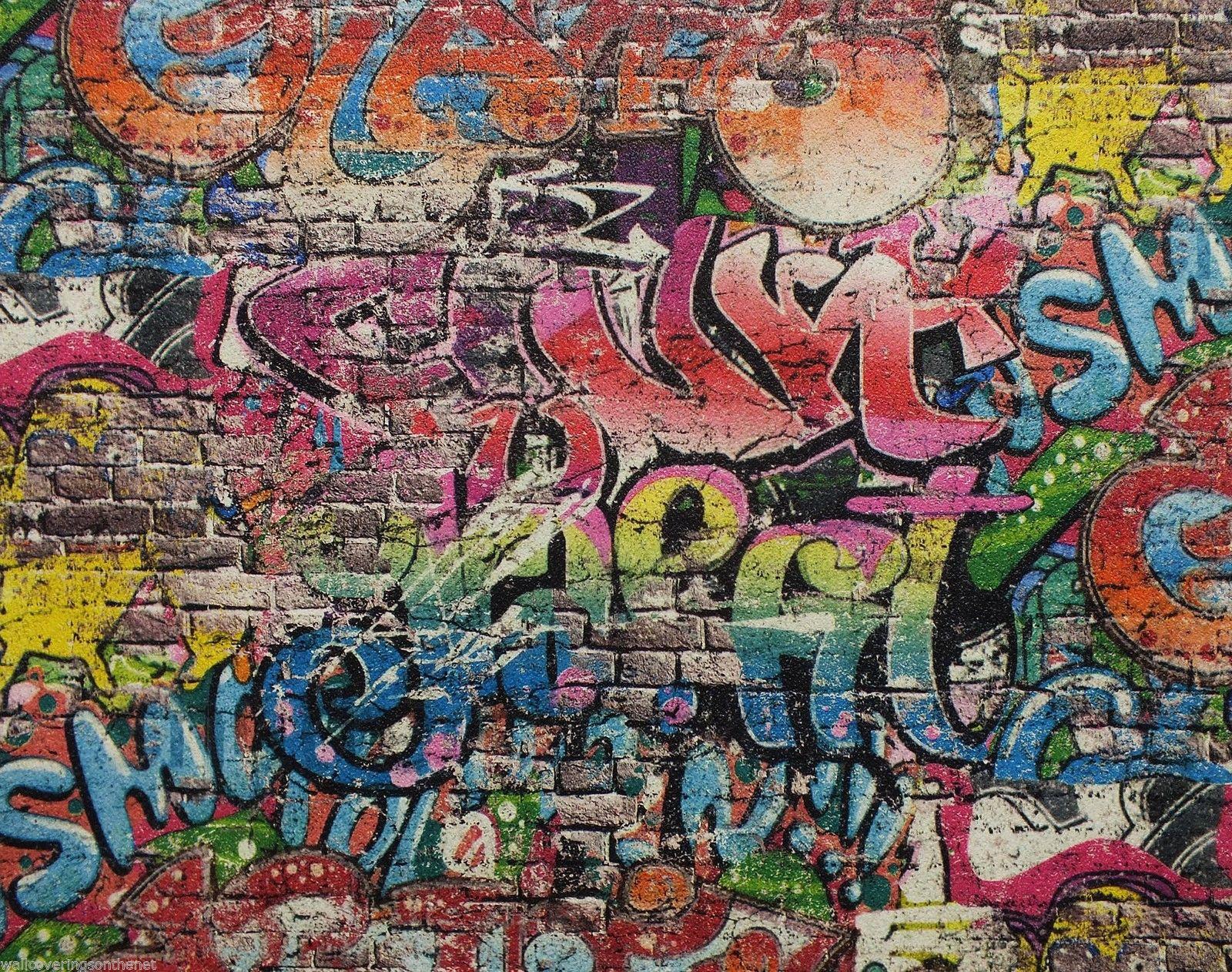 PampS Graffiti Street Art Children Kids Teenager Tag Brick Wall Textured Wallpaper EBay