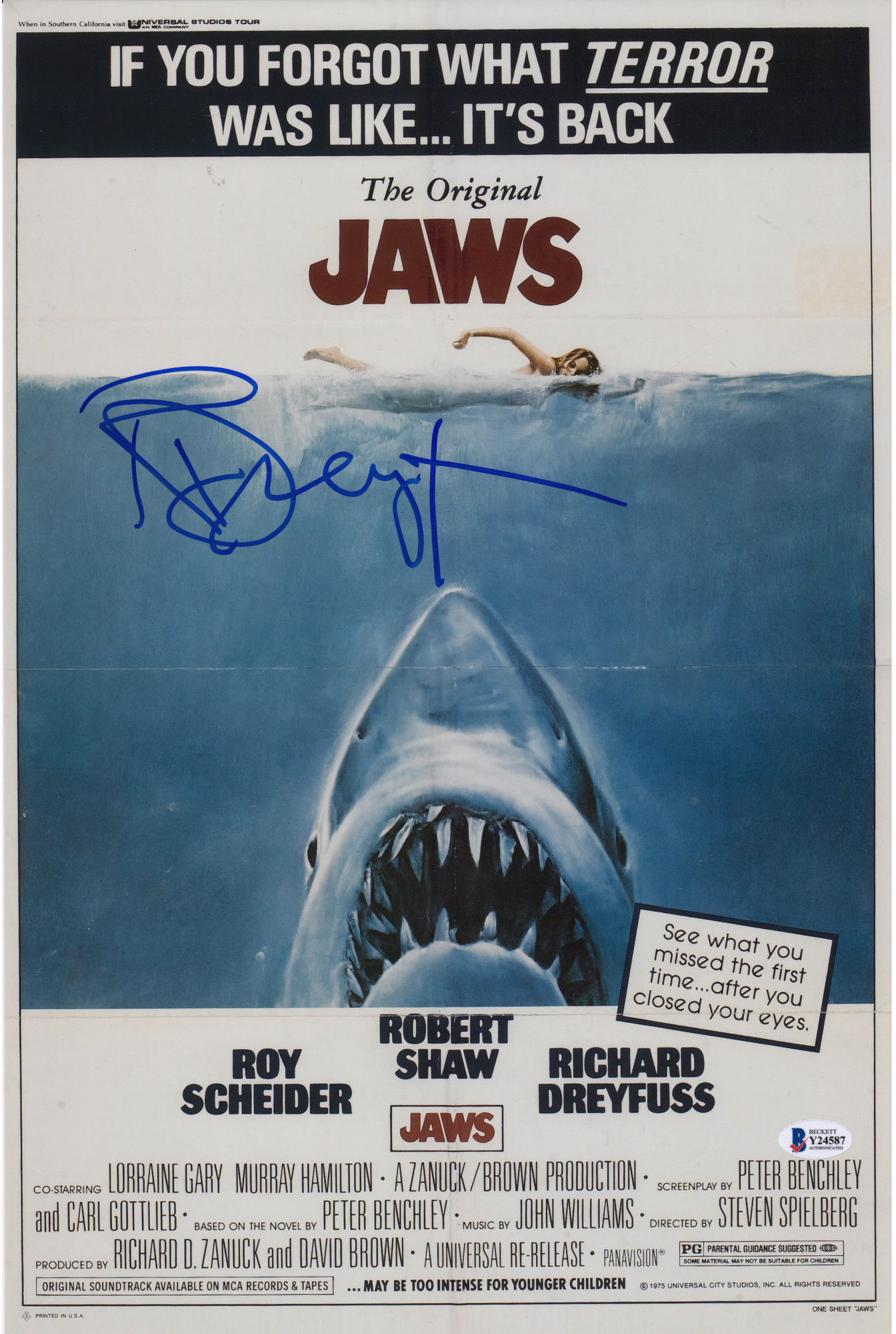 richard dreyfuss jaws autographed 11 x 17 movie poster
