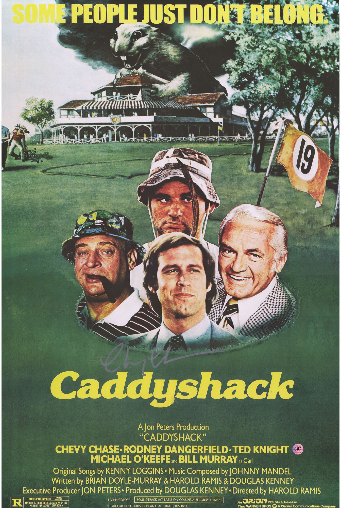 chevy chase caddyshack autographed 20 x 24 movie poster