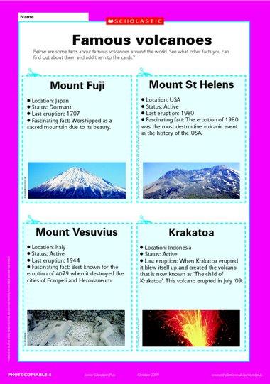 Write Names Picture Volcano