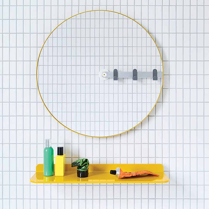 Sabi's Mirror by MAP is designed for universal use. Installation is a breeze: Punch out the to-scale template from the packaging and hang it with the included adhesive or easy-mount screw.