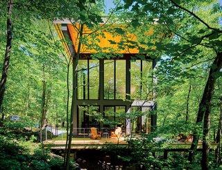 """10 maisons en porte-à-faux par gravité - Photo 20 de 23 - Une cabine en porte-à-faux conçue par RD Gentzler se fond dans la forêt, même si elle dépasse une chute de 20 pieds.  Sa face sud est presque entièrement en verre, mais un toit couvre le gain solaire.  """"Nous nous asseyons sur le pont toute l'après-midi en regardant les arbres, et le temps passe juste"""", explique la résidente Maricela Salas."""
