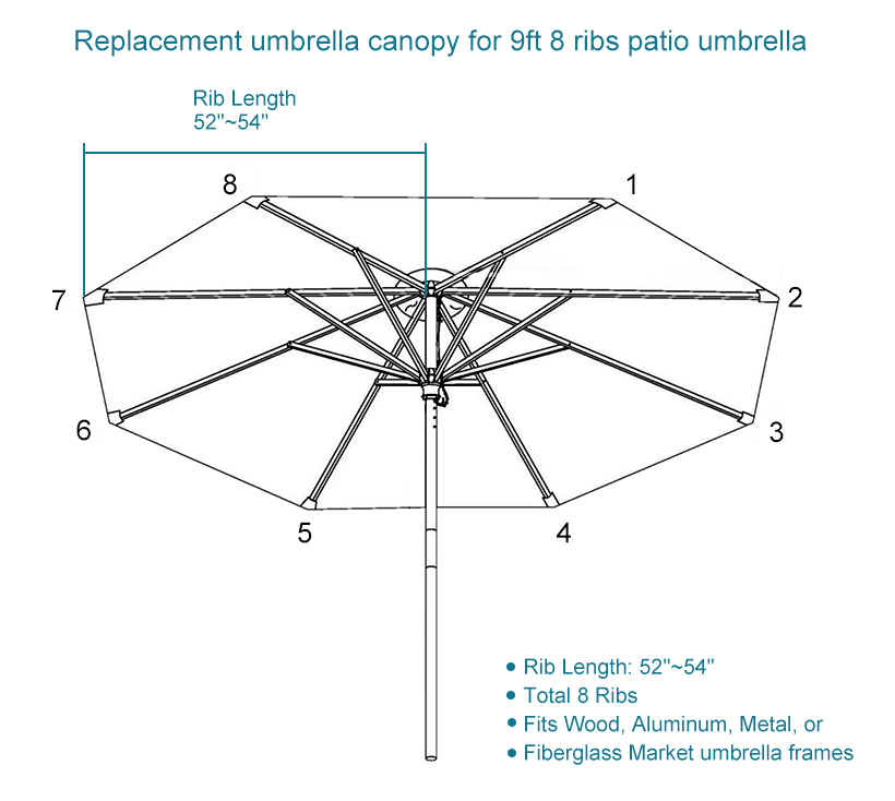 patio umbrella cover replacement top canopy for 9ft 8 ribs tan livingbasics
